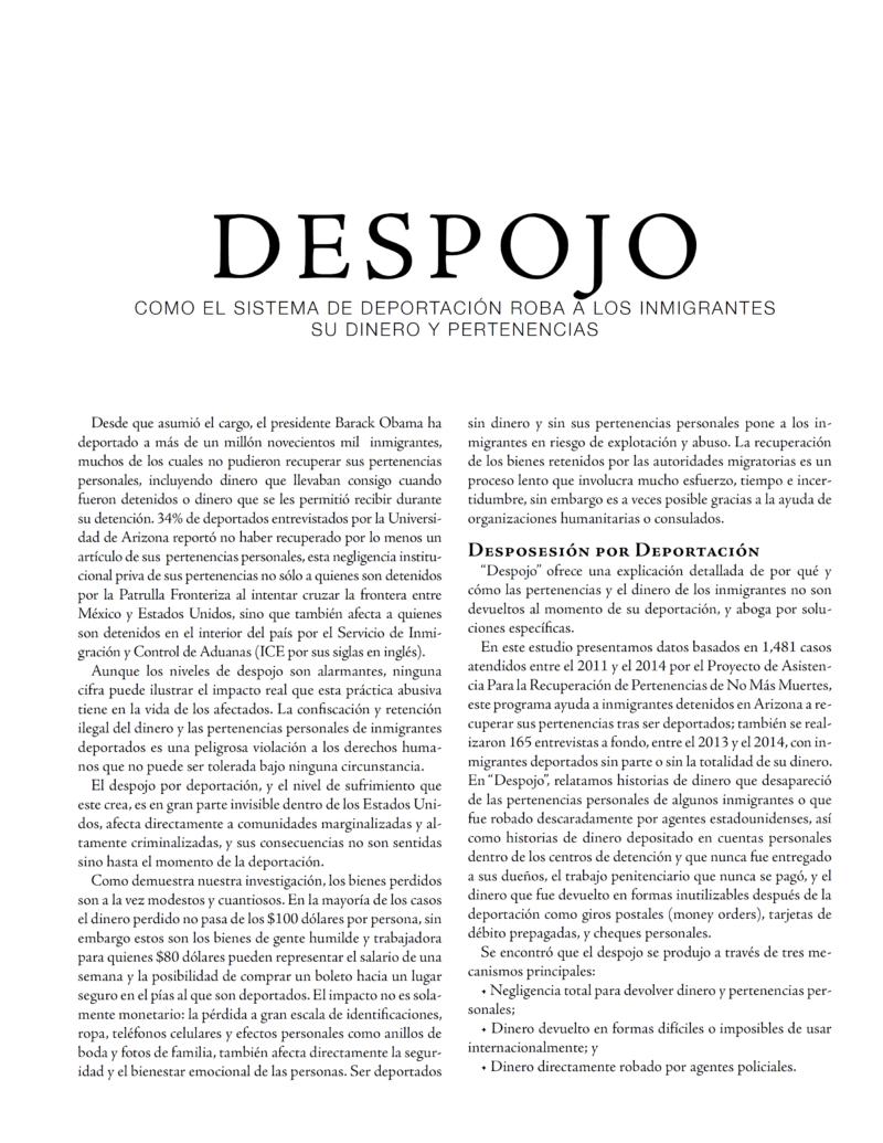 Despojo | No Más Muertes • No More Deaths