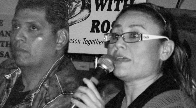 Rosa Robles Loreto (right) speaks at a community conversation about sanctuary February 25, 2015, at Southside Presbyterian Church in Tucson. To avoid a deportation order, she took sanctuary in the church in August 2014. On the left is Daniel Neyoy Ruiz, who stayed at Southside with his family in May and June 2014 until Immigration and Customs Enforcement (ICE) stayed his deportation order. Robles Loreto is still awaiting action from ICE. Photo by Denise Holley.